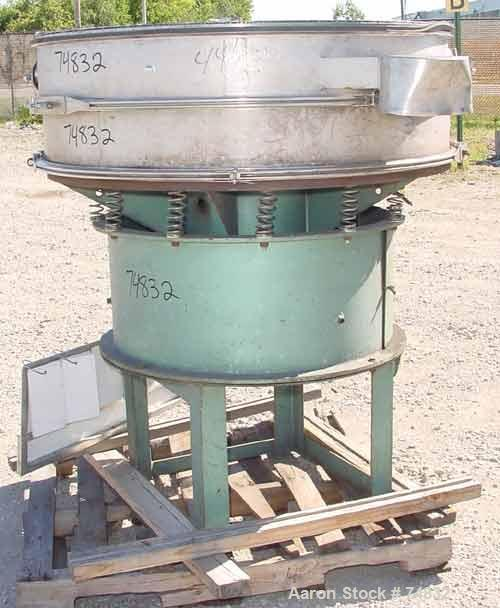 "USED: Sweco screener, model S48S66, stainless steel. 48"" diameter,single deck, 2 separation, no top cover. Driven by a 1 hp,..."