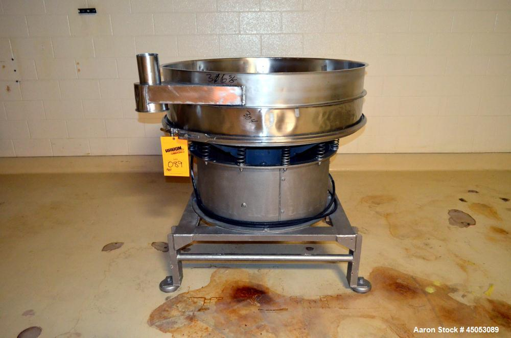 """Used- Sweco Screener, Model S48S86, Stainless Steel. 48"""" Diameter single deck, 2 separation, no top cover, approximate 1hp m..."""
