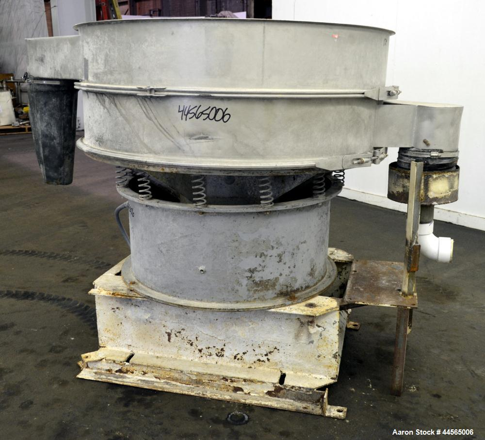 "Used- Sweco Screener, Model S48S88, 304 Stainless Steel. 48"" Diameter, single deck, 2 separation, no top cover. Driven by a ..."