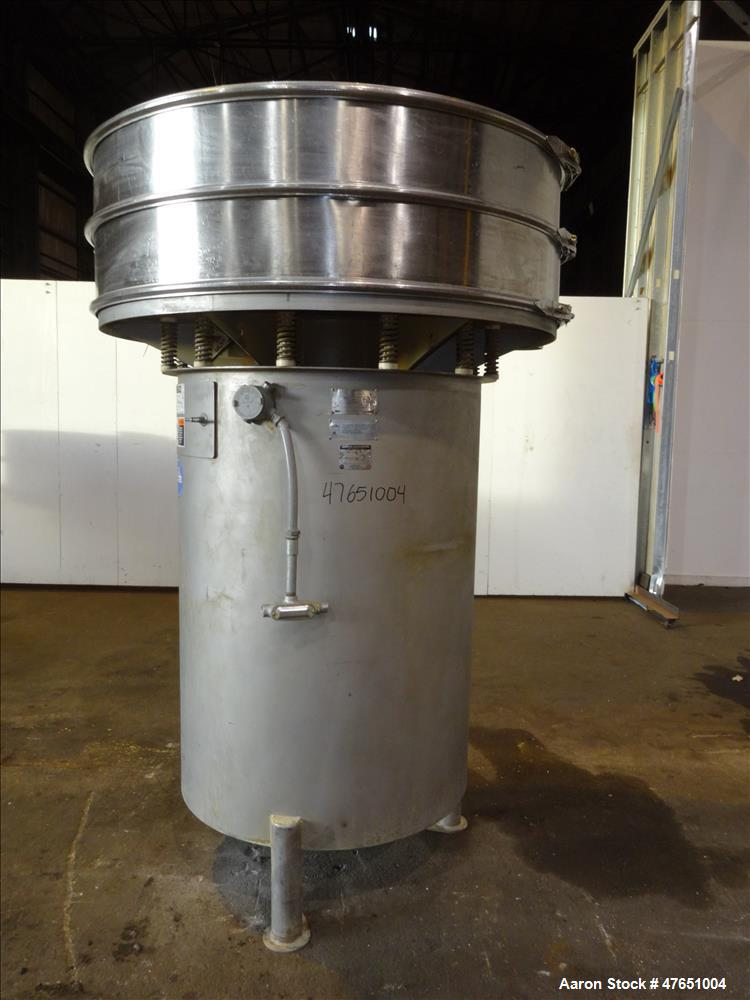 "Used- Sweco Screener, Model SS60S88, 60"" diameter, 304 Stainless steel. Single deck, 2 separation, with top cover. driven by..."