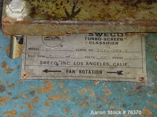 """USED: Sweco turbo screen air classifier, model TS-18, stainless steel.18"""" diameter screen. Rotating air wand, radial fan. 3""""..."""