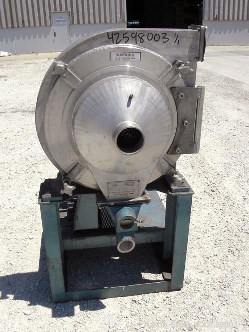 "Used- Sweco Turbo Screen Air Classifier, model TS18, 304 stainless steel housing. 18"" Diameter chamber. Rotating air wand, 3..."