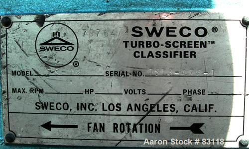 "USED: Sweco Turbo Screen Air Classifier, model TS18, aluminum housing. 18"" diameter chamber. Rotating air wand, no radial fa..."