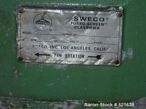 """USED: Sweco turbo screen air classifier, model TS-30, aluminum construction. 30"""" diameter screen. Driven by a 5 hp, 3/60/230..."""