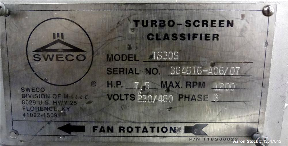 Used-Sweco Turbo Screen, Model TS30S