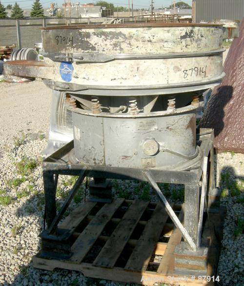 """Used- Sweco Screener, Model US48-185-13, Carbon Steel. 48"""" Diameter, single deck, 2 separation. No top cover. Driven by a 2...."""