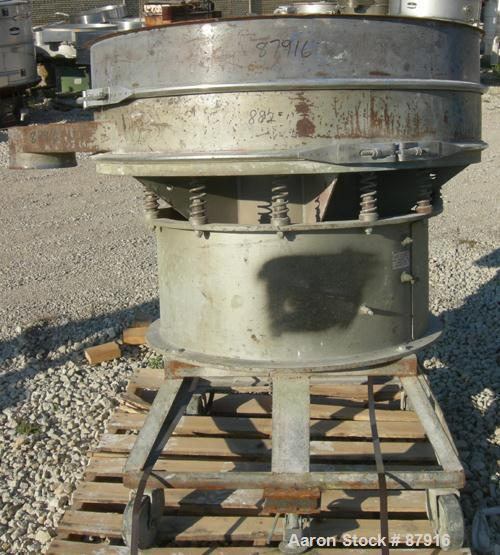 "USED: Sweco screener, model US48-583-49, carbon steel. 48"" diameter, single deck, 2 separation. No top cover. Driven by a 2...."