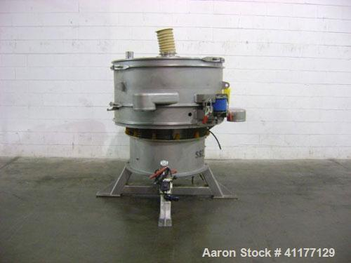 """Used- Sweco Screener, Model US48S61566, stainless steel. 48"""" diameter, single deck, 2 separation. Top cover. Driven by a 2-1..."""