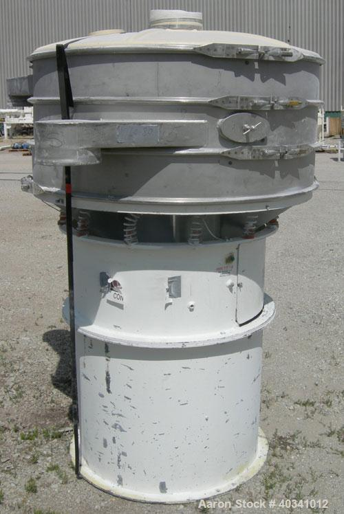 "Used- Sweco screener, model US48S6662, stainless steel. 48"" diameter, double deck, 3 separation. Plastic top cover. Driven b..."