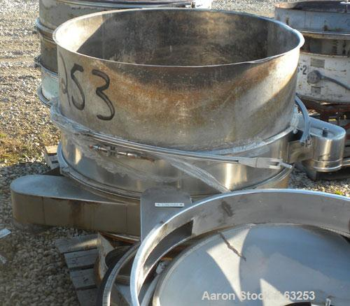 """USED- Sweco Separator, Model US48S68. 304 Stainless Steel. 48"""" diameter, single deck, 2 separation, no top cover. Driven by ..."""