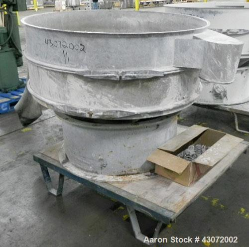 "Used- Sweco Screener, Model US48S888, 316 Stainless Steel. 48"" Diameter, single deck, 2 separation. No top cover. Driven by ..."