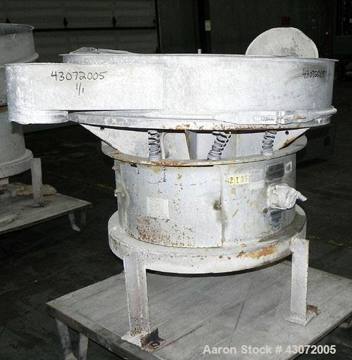 "Used- Sweco Screener, Model US48S888, 304 Stainless Steel. 48"" Diameter, bottom deck only.Driven by a 2.5 hp, 3/60/230/460 v..."