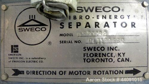"""Used- Sweco Screener, Model US60C82, Carbon Steel. 60"""" Diameter bottom deck only. Carbon steel top cover. Driven by a 2.5hp,..."""