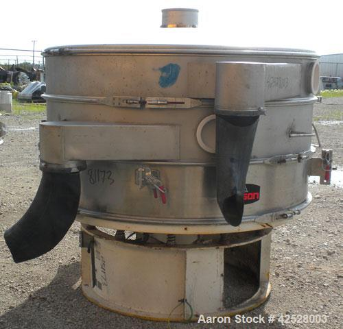 "Used- Sweco Screener, Model US60S1088-002. 304/316 Stainless Steel. 60"" diameter, double deck, 3 separation, with top cover ..."