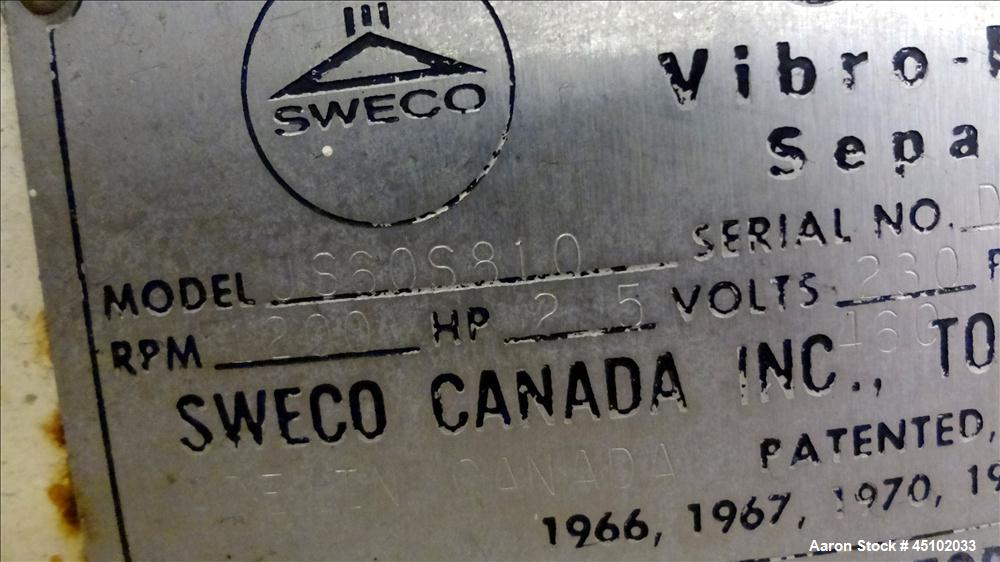 "Used- Sweco Screener, 60"" Diameter, Model US60S810, Stainless Steel. Single deck, 2 separation, no top cover. Driven by a 2-..."