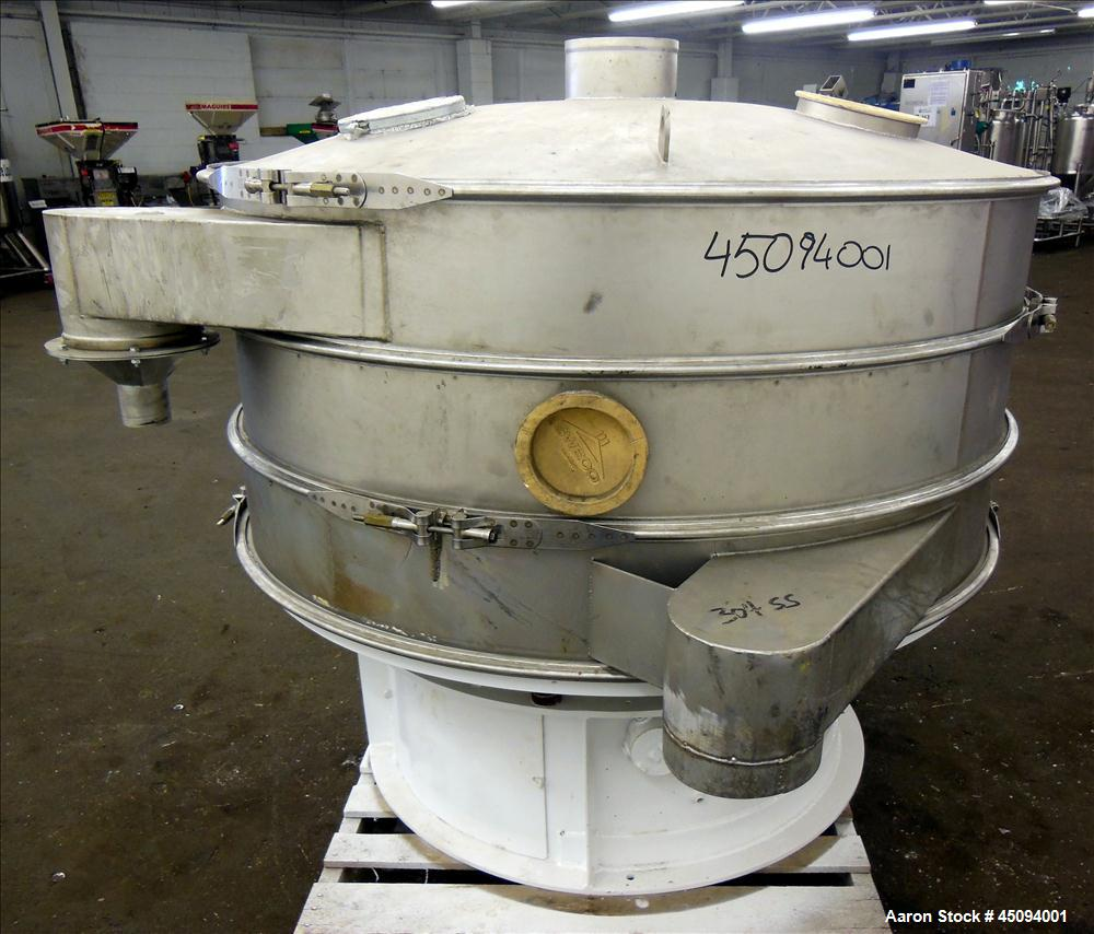 "Used- Sweco Screener, Model US60S888-C, 304 Stainless Steel. 60"" Diameter, double deck, 3 separation with slider ring deck a..."