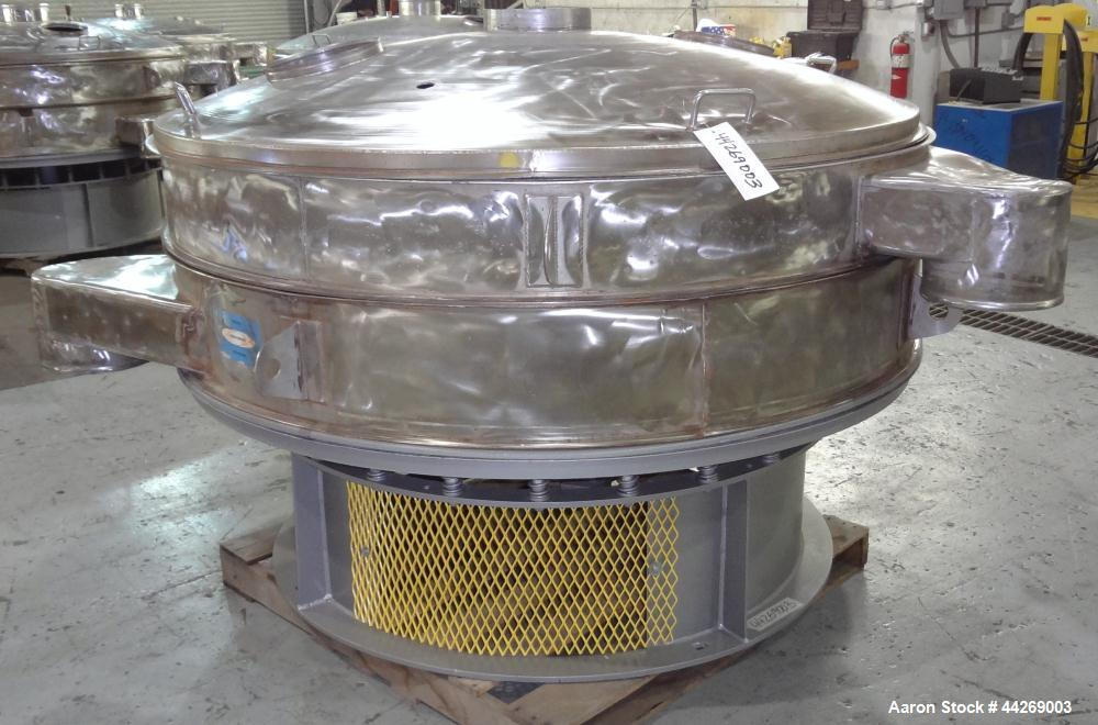 """Used- Sweco Screener, Model US72108, 316 Stainless Steel. 72"""" Diameter, single deck, 2 separation, with top cover. Driven by..."""