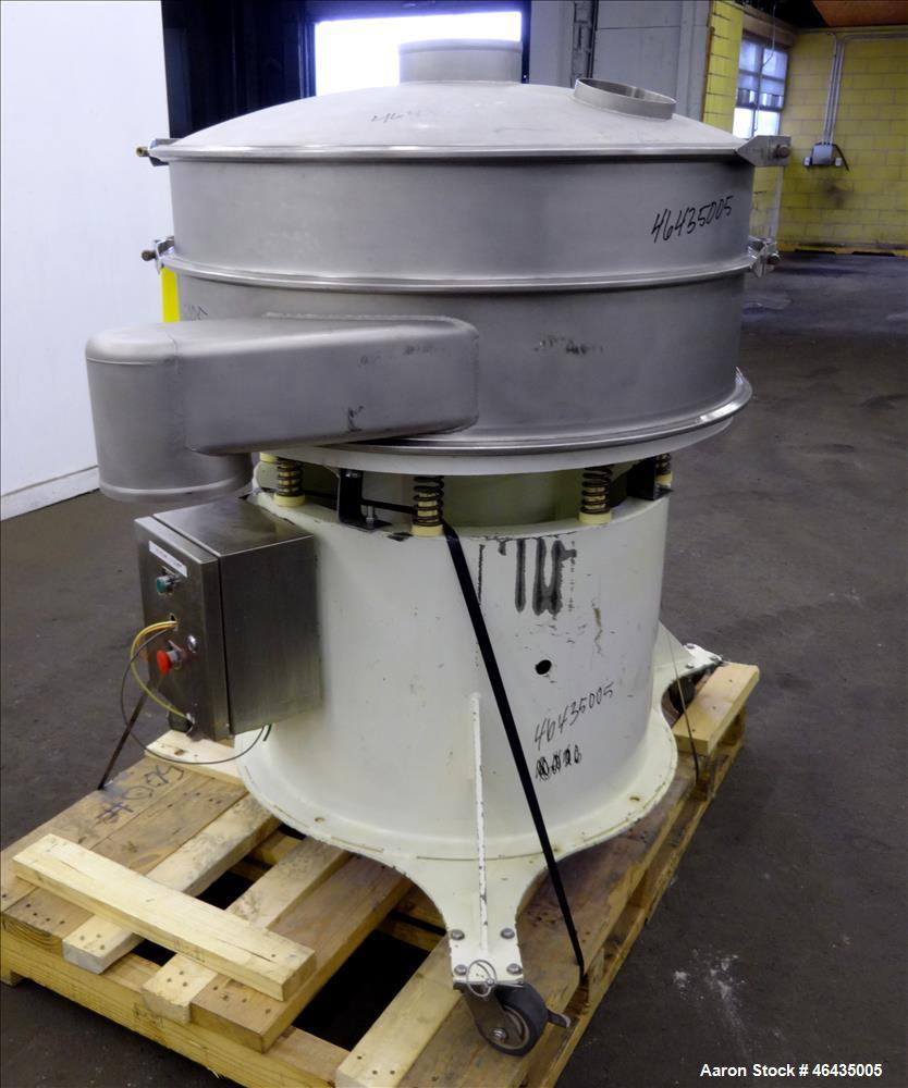 "Used- Sweco Screener, Model XS40Y86CBP7TLWCXB, 316 Stainless Steel. 40"" Diameter. 2 Decks, 1 separation. Driven by 2.5hp, 3/..."