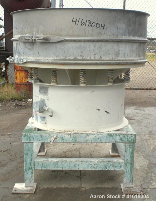 "Used- Sweco Screener, Model XS48S68, 304 Stainless Steel. 48"" diameter, single deck, 2 separation, no top cover. Driven by a..."