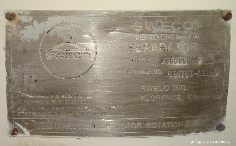 Used- Sweco Screener, Model XS48S8815, Stainless Steel