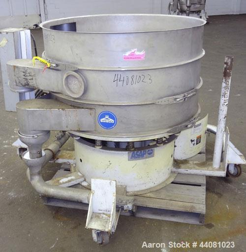 "Used- Sweco Screener, Model XS48S888, 304 Stainless Steel. 48"" Diameter, double deck, 3 separation, no top cover. Driven by ..."