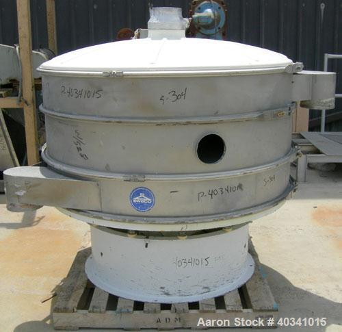 "Used- Sweco screener, model XS60810S, 304 stainless steel. 60"" diameter, double deck, 3 separation. Plastic top cover. Drive..."