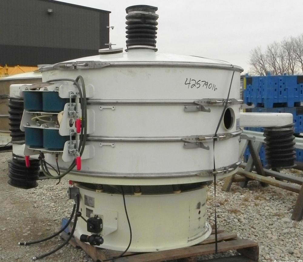 "Used- Sweco Screener, Model XS60C888, Carbon Steel. 60"" Diameter, double deck, 3 separation. Includes a top cover. Driven by..."