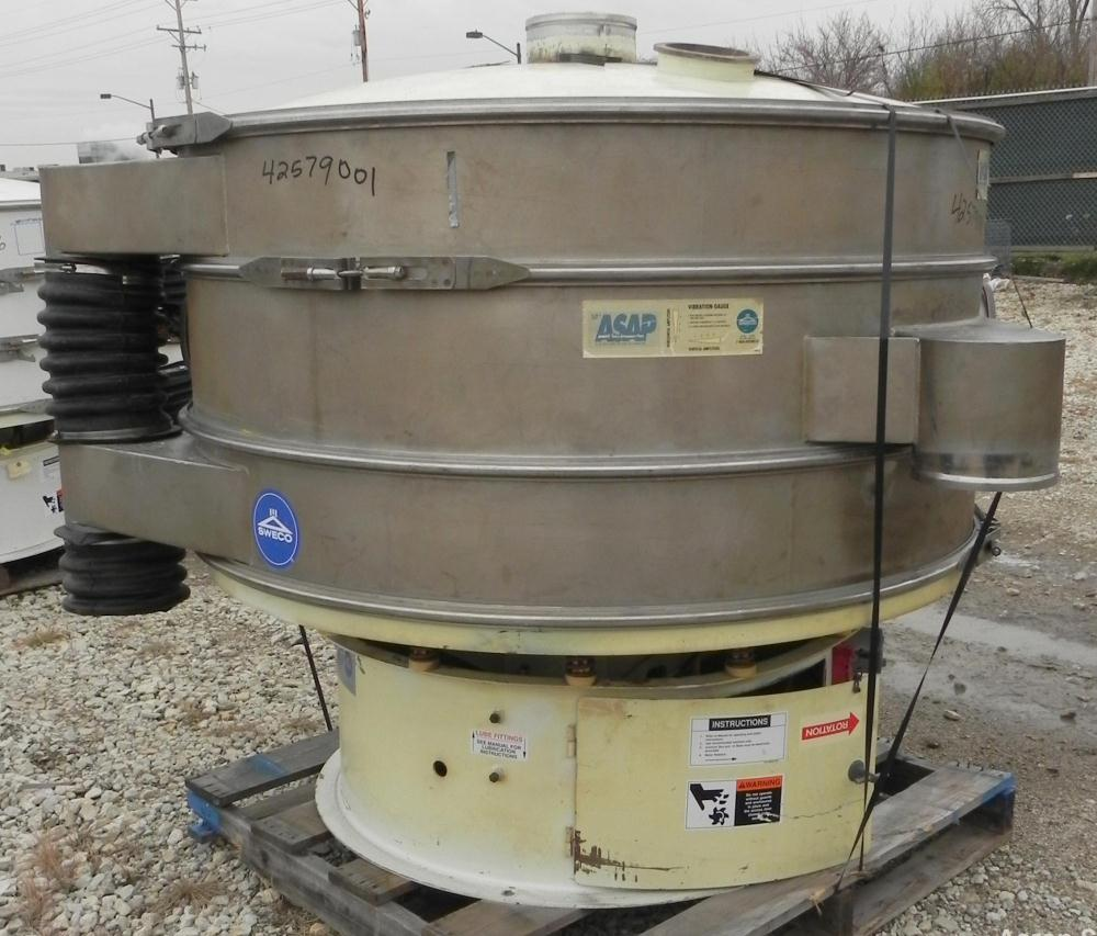 "Used- Sweco Screener, Model XS60S8108, 304 Stainless Steel. 60"" Diameter, double deck, 3 separation. Carbon steel top cover...."