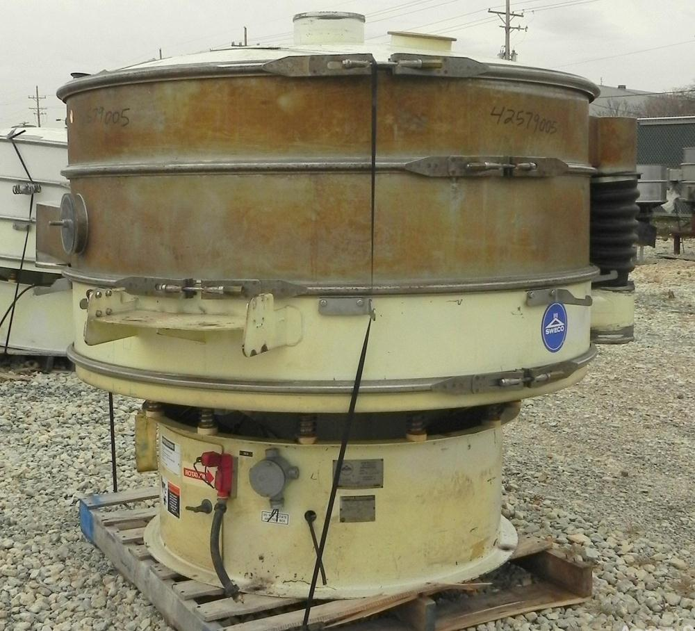 """Used- Sweco Screener, Model XS60S8108. 60"""" Diameter, double deck, 3 separation. (2) Decks 304 stainless steel, (1) deck carb..."""