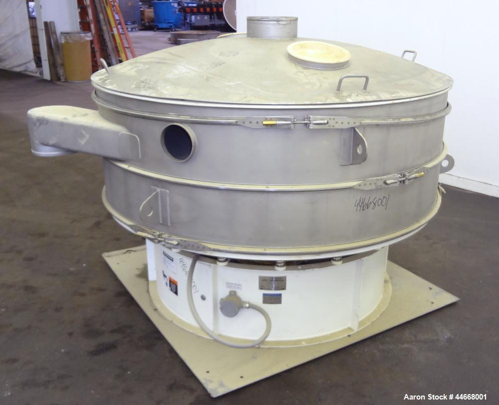 """Used- Sweco Screener, Model XS72S101412AVTLWC, 304 Stainless Steel. 72"""" Diameter, single deck, 2 separation, with top cover...."""