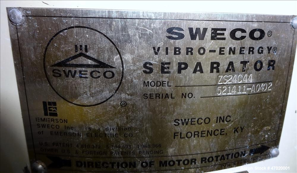 Used- Sweco Screener, Model ZS24C44, 304 Stainless Steel.