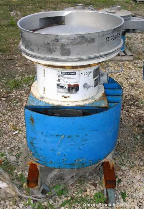 """Used- Sweco Screener, Model ZS30S66. Designed for 30"""" diameter decks, frame and motor only, mounted on a steel frame with ca..."""