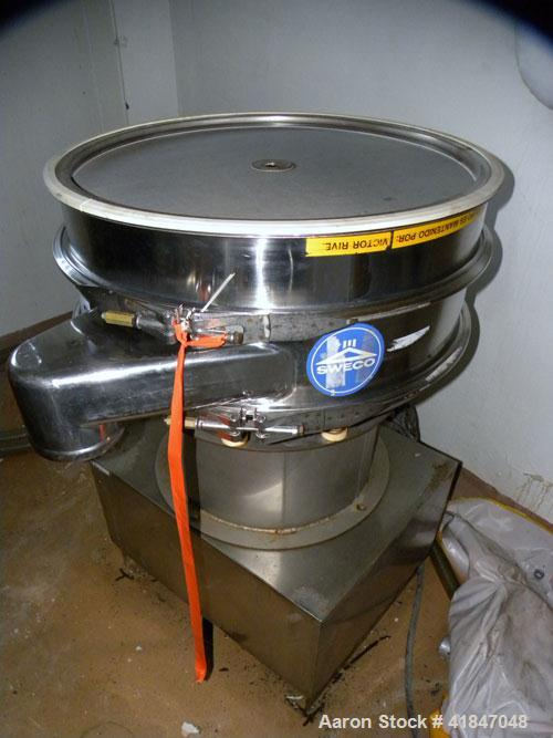 """Used- Sweco Screener, stainless steel.30"""" diameter, single deck, 2 separation. No top cover. Driven by a 1/2 hp, 3/60/460 ..."""