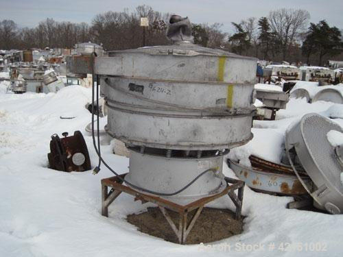 "Used- Sweco Screener, Carbon Steel. 60"" diameter, double deck, 3 separation. No top cover. Driven by a  hp, 3/60/460 volt mo..."