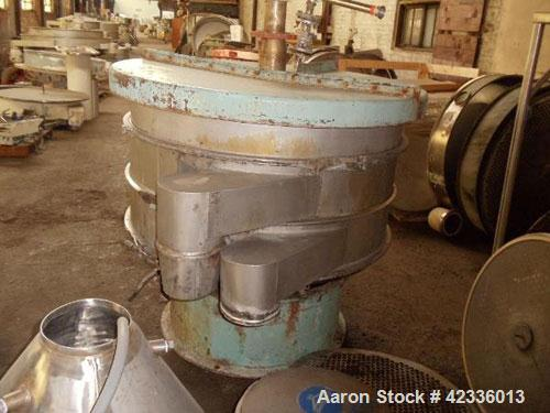 """Used- Sweco Screener, Stainless Steel. 48"""" Diameter, two deck design with motor drive on base."""