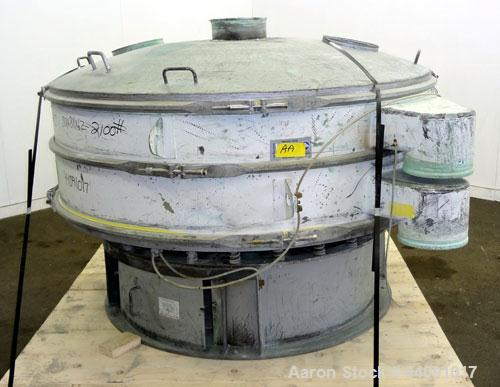 "Used- Sweco Screener, Carbon Steel. 72"" Diameter single deck, 2 separation. Carbon steel top cover. Driven by a 5hp, 3/60/23..."