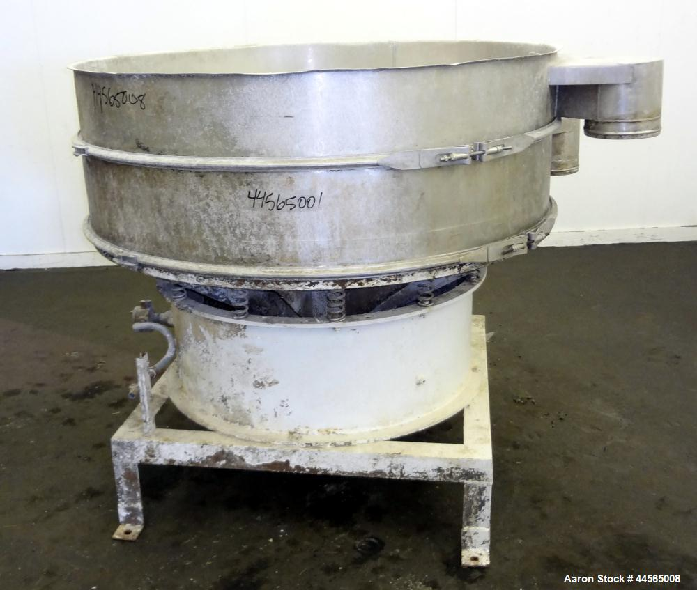 """Used- Sweco Screener, 304 Stainless Steel. 60"""" Diameter, single deck, 2 separation, no top cover. Driven by a 2.5hp, 3/60/23..."""