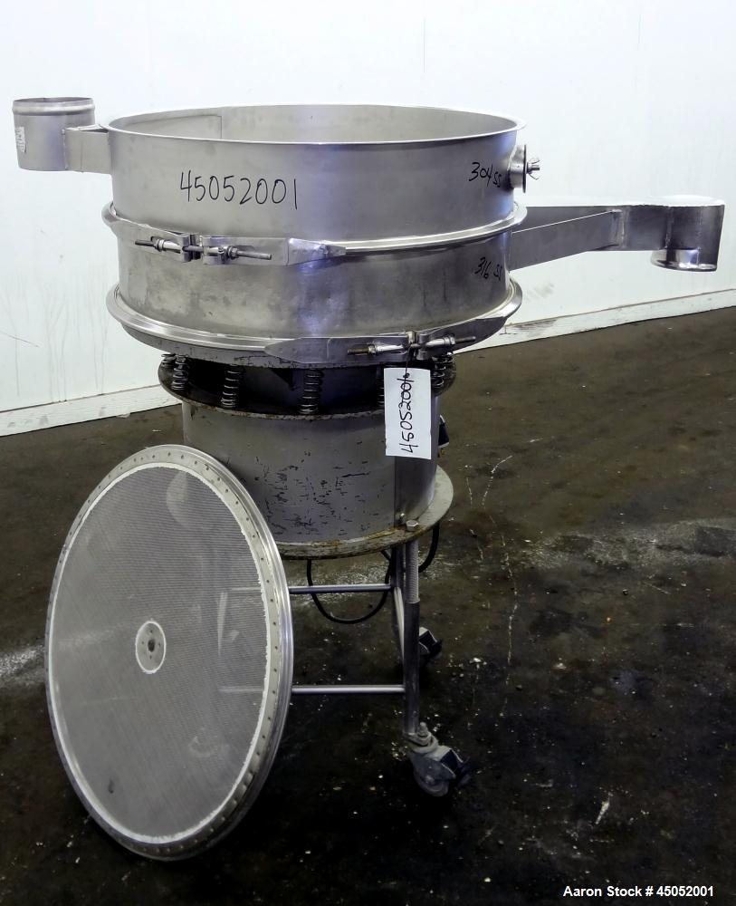 """Used- Sweco Screener, 30"""" Diameter, Stainless Steel. Single deck, 2 separation, no top cover. Includes motor. Mounted on a c..."""