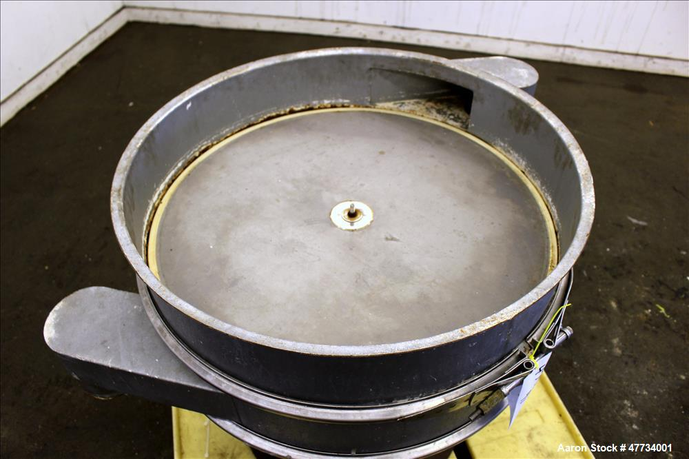 """Used- Sweco Screener, Carbon Steel. 30"""" Diameter, single deck, 2 separation, no top cover. Driven by an approximate 1/2hp mo..."""