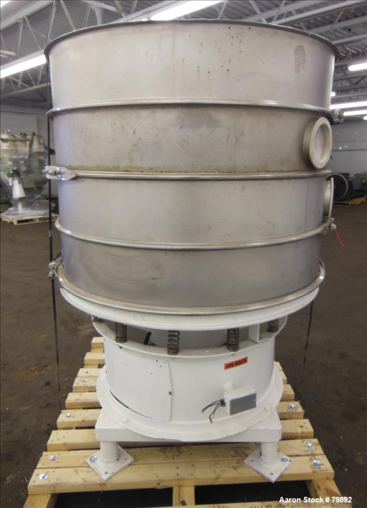 """Used- Sweco Screener, 48"""" Diameter, 304 Stainless Steel. (3) Deck, 4 separation, no top cover. Driven by an approximate 1-1/..."""