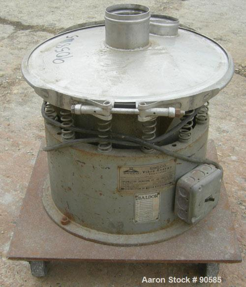 "USED: Sweco screener model S18S3333, 304 stainless steel.  18"" diameter, no decks, top cover.  Driven by a 1/4 hp, 1/60/115 ..."