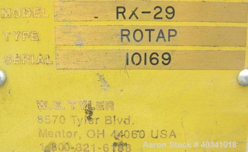 """Used- W.S. Tyler Rotap testing sieve shaker, model RX29, 8"""" diameter. Driven by a 1/4 hp, 1/60/115/230 volt, 1725 rpm motor...."""