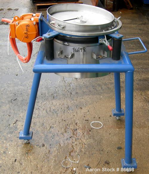 "Used- Vorti-Siv Vibratory Sieving Machine, Model RVM-15E, 304 Stainless Steel. (1) 15"" diameter 80 mesh sieve. Bottom collec..."
