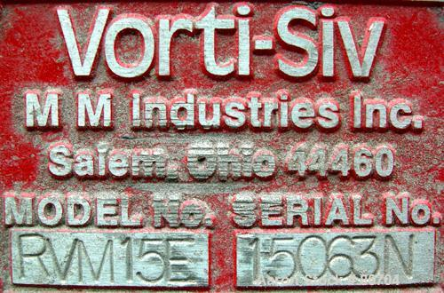 Used- Stainless Steel Vorti-Siv Vibratory Sieving Machine, Model RVM-15E,