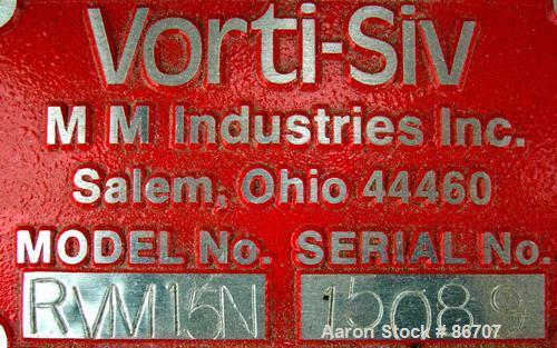 "Used- Vorti-Siv Vibratory Sieving Machine, Model RVM-15E, 304 Stainless Steel. (1) 15"" diameter mesh sieve. Bottom collectio..."