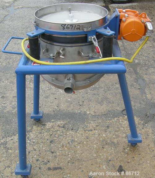 "Used- Vorti-Siv Vibratory Sieving Machine, Model RVM-15E, 304 Stainless Steel. (1) 15"" diameter 94 mesh sieve. Bottom collec..."
