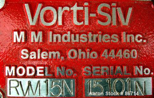 "Used- Vorti-Siv Vibratory Sieving Machine, Model RVM-15E, 304 Stainless Steel. (1) 15"" diameter 94 mesh sieve. Bottom collec..."