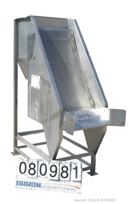 "USED:The Hughes Co Type DSM Screener, Model 052-2873D, 304 Stainless Steel.  (1) vertical screen 24"" wide x 48"" long.  4-1/2..."