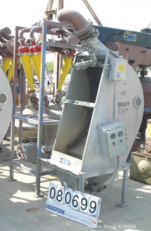 "Used- Dorr Oliver DSM Screener, Model 120, 316 Stainless Steel. (1) Vertical screen 21-1/2"" wide set at approximate 120 deg ..."