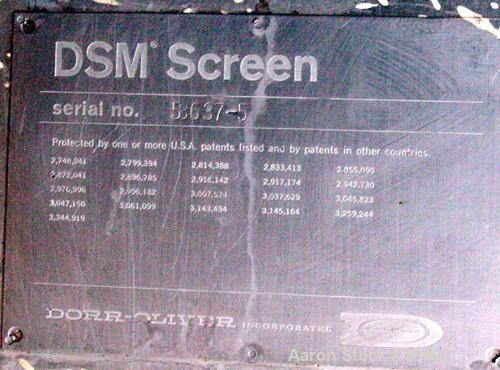 "USED: Dorr Oliver 120 deg DSM screener, 316 stainless steel. (1) Vertical screen 21-1/2"" wide x 60"" long set at approximate ..."
